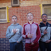 Davoud, Sofyen and Devante outside the White City youth club.