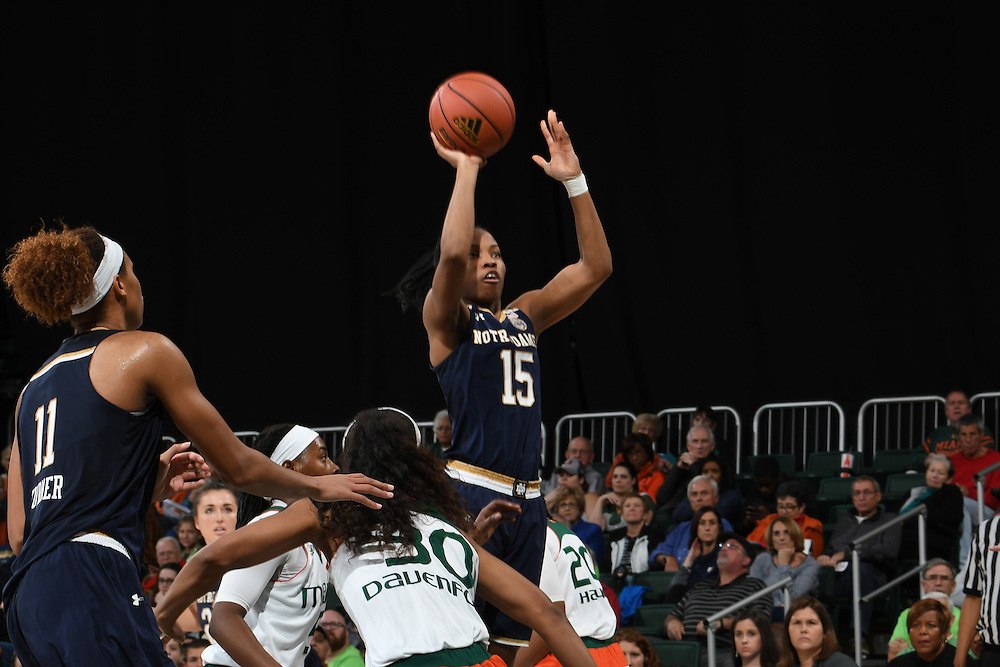 January 8, 2017: Lindsay Allen #15 of Notre Dame in action during the NCAA basketball game between the Miami Hurricanes and the Notre Dame Fighting Irish in Coral Gables, Florida. The 'Irish defeated the 'Canes 67-55.
