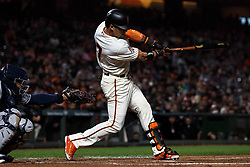 SAN FRANCISCO, CA - SEPTEMBER 24: Gorkys Hernandez #7 of the San Francisco Giants at bat against the San Diego Padres during the fifth inning at AT&T Park on September 24, 2018 in San Francisco, California. The San Diego Padres defeated the San Francisco Giants 5-0. (Photo by Jason O. Watson/Getty Images) *** Local Caption *** Gorkys Hernandez