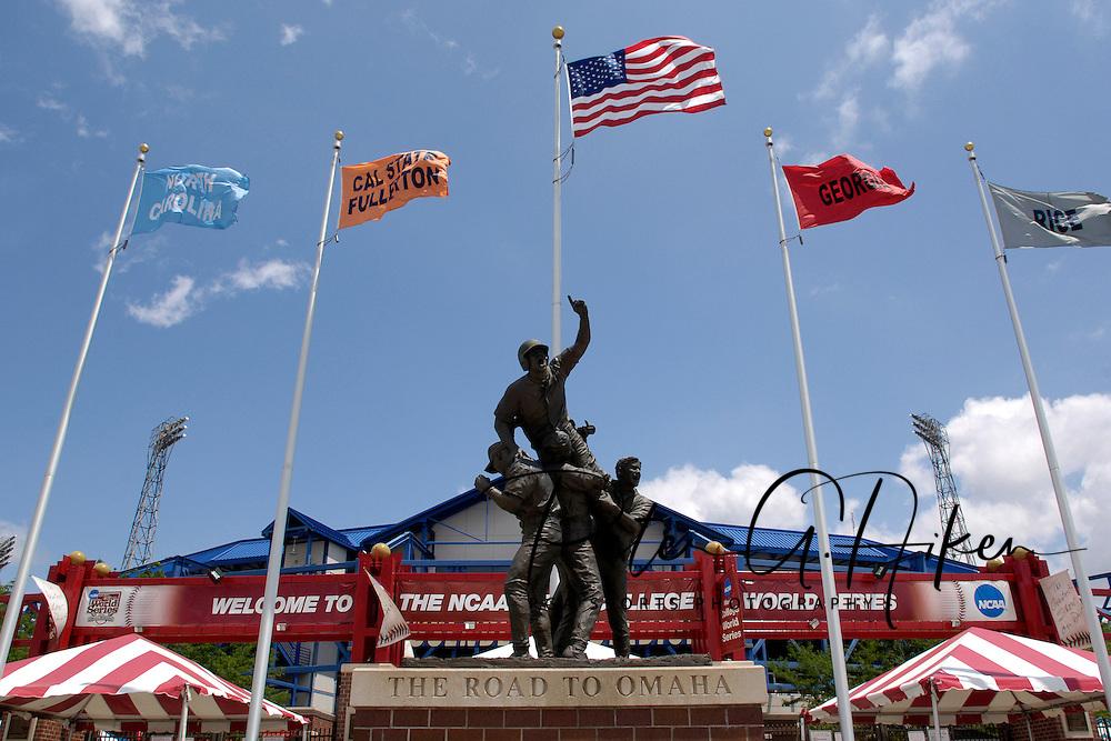 "The ""Road to Omaha"" statue stands outside the enterence of Rosenblatt Stadium at the College World Series in Omaha, Nebraska, June 25, 2006."