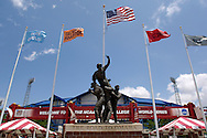 "The ""Road to Omaha"" statue stands outside the enterence of Rosenblatt Stadium at the College World Series in Omaha, Nebraska, June 25, 2006."