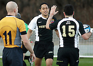 West Point, NY - Army players celebrate after scoring against Navy in a rugby match at the Anderson Rugby Center at the United States Military Academy on Nov. 21, 2009.