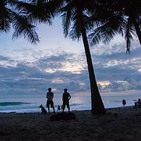 Beach scene on Playa Carmen near Banana Beach lounge in Santa Teresa, Costa Rica.