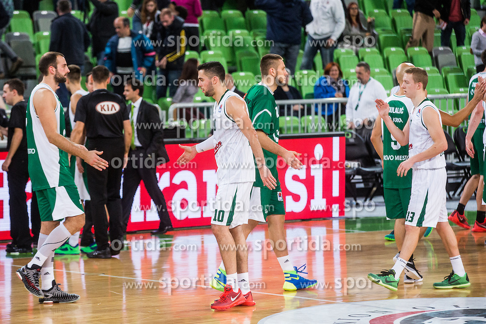 Mitja Nikolic & Miha Lapornik of KK Union Olimpijaduring basketball match between KK Union Olimpija Ljubljana and KK Krka in Round #5 of ABA League 2015/16, on October 11, 2015 in Arena Stozice, Ljubljana, Slovenia. Photo by Grega Valancic / Sportida