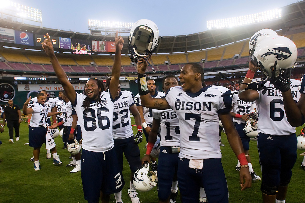 Howard University football players celebrate winning The AT&T Nation's Classic Football game with Howard University and Morehouse College. Howard won the game  30-27 at RFK Stadium in Washington, DC  (Alan Lessig)Alan Lessig Photography.http://lessigphotography.photoshelter.com/