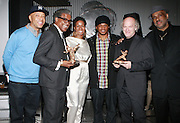 l to r: Russell Simmons, Elvis Mitchell, Tange Murray, Sway, Timothy Greenfield-Sanders, and Danny Simmons at The Rush Philanthropic 2nd Annual Gold Rush Awards Presented by Danny Simmons and Russell Simmons which was held at The Red Bull Space on March 18, 2010 in New York City. Terrence Jennings/Retna..The Gold Rush Awards celebrates and recognizes trailblazers in the Arts Industry who shape contemporary arts and culture across creative disciplines.