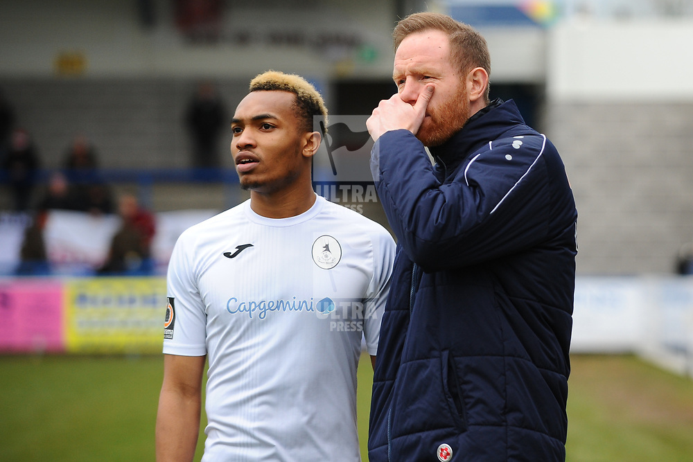 TELFORD COPYRIGHT MIKE SHERIDAN Marcus Dinanga of Telford and Gavin Cowan  during the Vanarama Conference North fixture between AFC Telford United and Darlington at The New Bucks Head on Saturday, March 7, 2020.<br /> <br /> Picture credit: Mike Sheridan/Ultrapress<br /> <br /> MS201920-049
