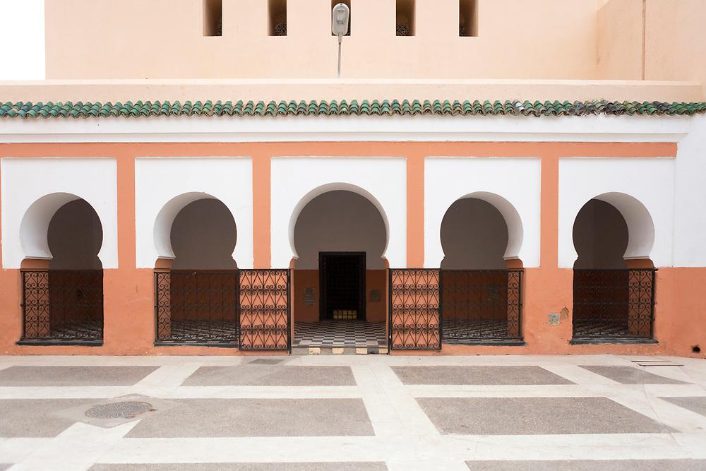MARRAKESH, MOROCCO - 19TH APRIL 2016 - Zaouia / zawiya burial tomb shrine site of Sidi Bel Abbas (Abu al-Abbas) al-Sabti, Marrakesh, Morocco.