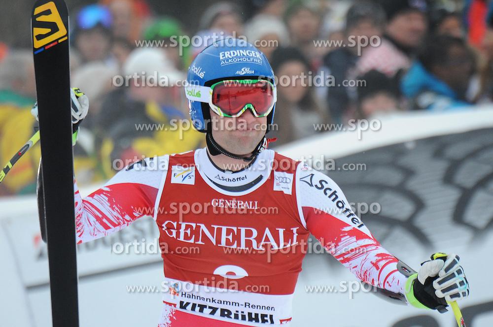 23.01.2015, Streif, Kitzbuehel, AUT, FIS Ski Weltcup, Supercombi Super G, Herren, im Bild Romed Baumann (AUT) // Romed Baumann of Austria reacts after his run of the men's Super Combined Super-G of Kitzbuehel FIS Ski Alpine World Cup at the Streif Course in Kitzbuehel, Austria on 2015/01/23. EXPA Pictures © 2015, PhotoCredit: EXPA/ Erich Spiess
