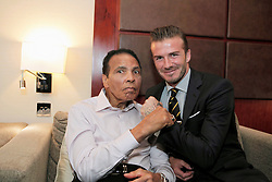 July 24, 2012 - London, United Kingdom - Soccer player DAVID BECKHAM and boxing legend MUHAMMAD ALI (L) during the 2012 Beyond Sport Summit in London. (Credit Image: © Pool/Beyond Sport via ZUMA Wire)