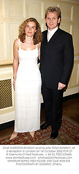 Chef GORDON RAMSAY and his wife TANA RAMSAY, at a reception in London on 1st October 2002.	PDR 27