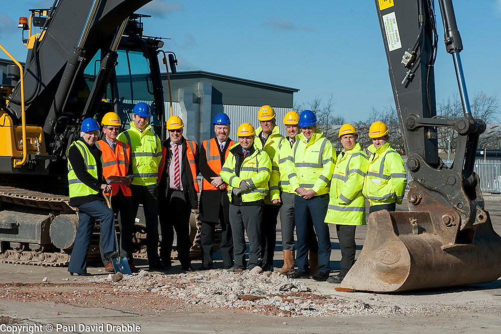 A ground-breaking ceremony to mark St. Modwen, the UK's leading regeneration specialist's first phase of a major new 250,000 sq ft commercial development at Parkside Business Park in Doncaster with Cllr Ros Jones Mayor of Doncaster (far left) and representatives from St. Modwen the regeneration specialist, Lindum York the construction contractor and    CBRE who are marketing the buildings.<br /> <br /> 07 March 2016<br />  Copyright Paul David Drabble<br />  www.pauldaviddrabble.co.uk