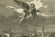 Giovanni Battista Dante, Italian mathematician, making a flight over Perugia in 1684 using wings. Strap failed on one arm and he fell, breaking his thigh. Woodcut, 1832.