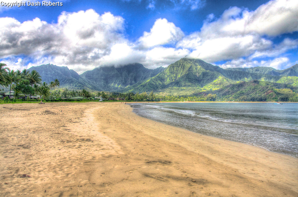 HDR photo of Hanalei Bay Beach in Hawaii on the island of Kauai.