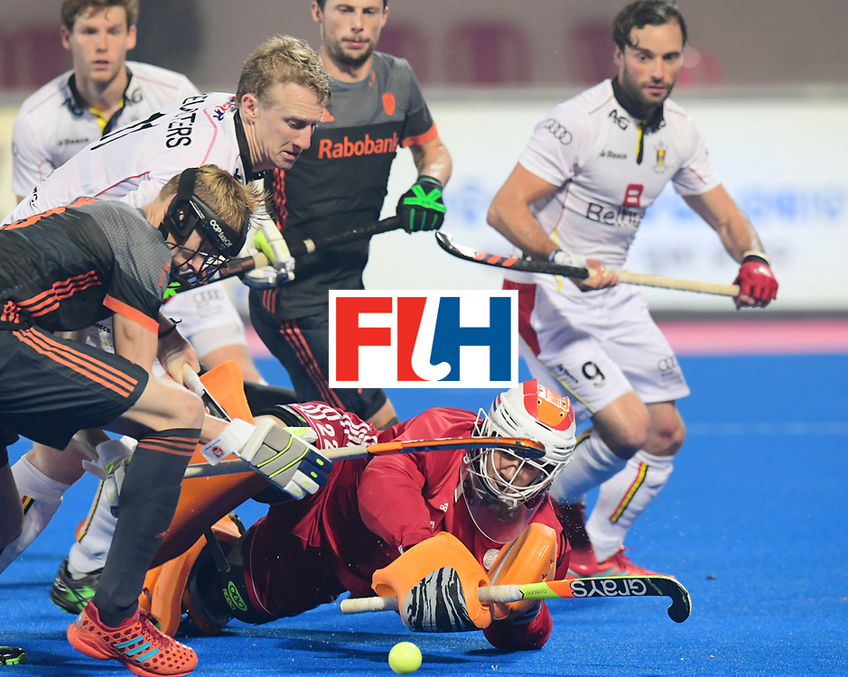 Odisha Men's Hockey World League Final Bhubaneswar 2017<br /> Match id:12<br /> Belgium v Netherlands<br /> Foto: Amaury Keusters (Bel) Joep de Mol (Ned) and keeper Sam van der Ven (Ned) <br /> COPYRIGHT WORLDSPORTPICS FRANK UIJLENBROEK