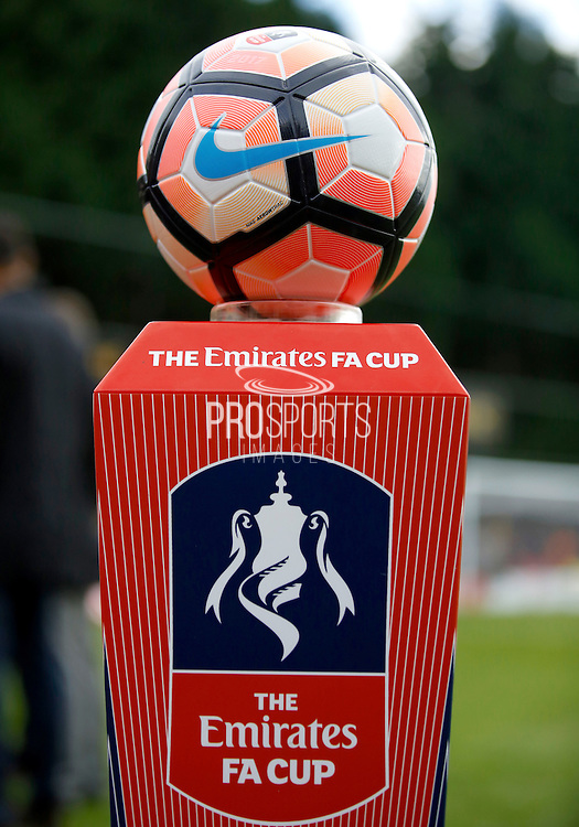 The official Nike match ball before the FA Cup match between Merstham and Oxford United at Moatside, Merstham, United Kingdom on 5 November 2016. Photo by Andy Walter.