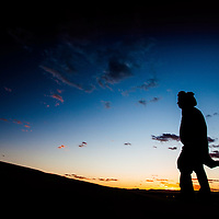 Sunset and silhouette in the Moroccan desert.