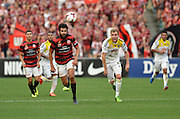 20.10.2013 Sydney, Australia. Wanderers defender Nikolai Topor-Stanley in action during the Hyundai A League game between Western Sydney Wanderers FC and Wellington Phoenix FC from the Pirtek Stadium, Parramatta. The game ended in a 1-1 draw.