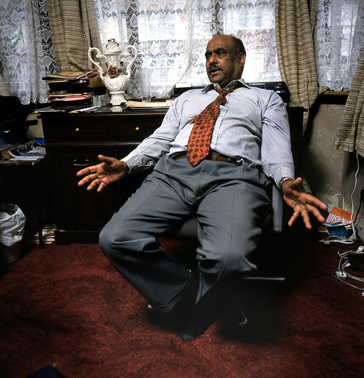 Azmat Begg, 64, from Birmingham, UK, father of Moazzam Begg, 35, who is being detained by the US at the Guantanamo Bay military base at the edge of Cuba, accused of fighting for Afghanistan's Taliban. Photographed at the family home in Birmingham, UK.