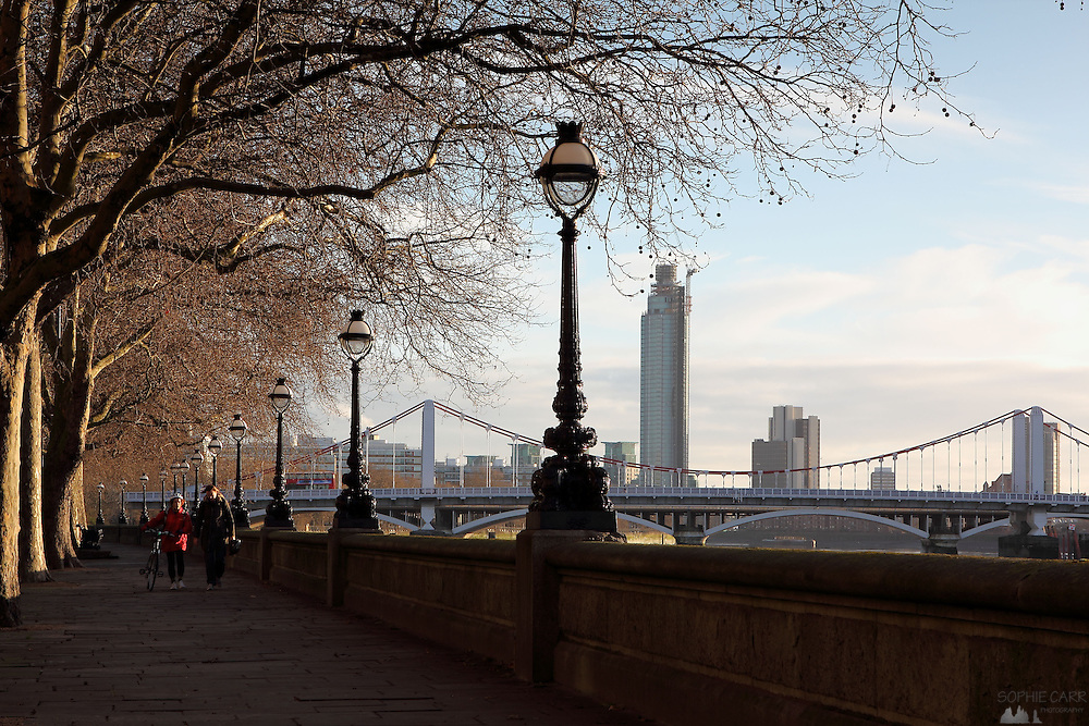 Views looking along the Chelsea Embankment on a sunny December morning
