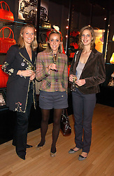 Left to right, ALISON POOLE, LUCY WATSON and GEORGINA CADBURY at a party tp celebrate the opening on Sac Freres at 7 Grafton Street, London W1 on 27th October 2005.<br /><br />NON EXCLUSIVE - WORLD RIGHTS