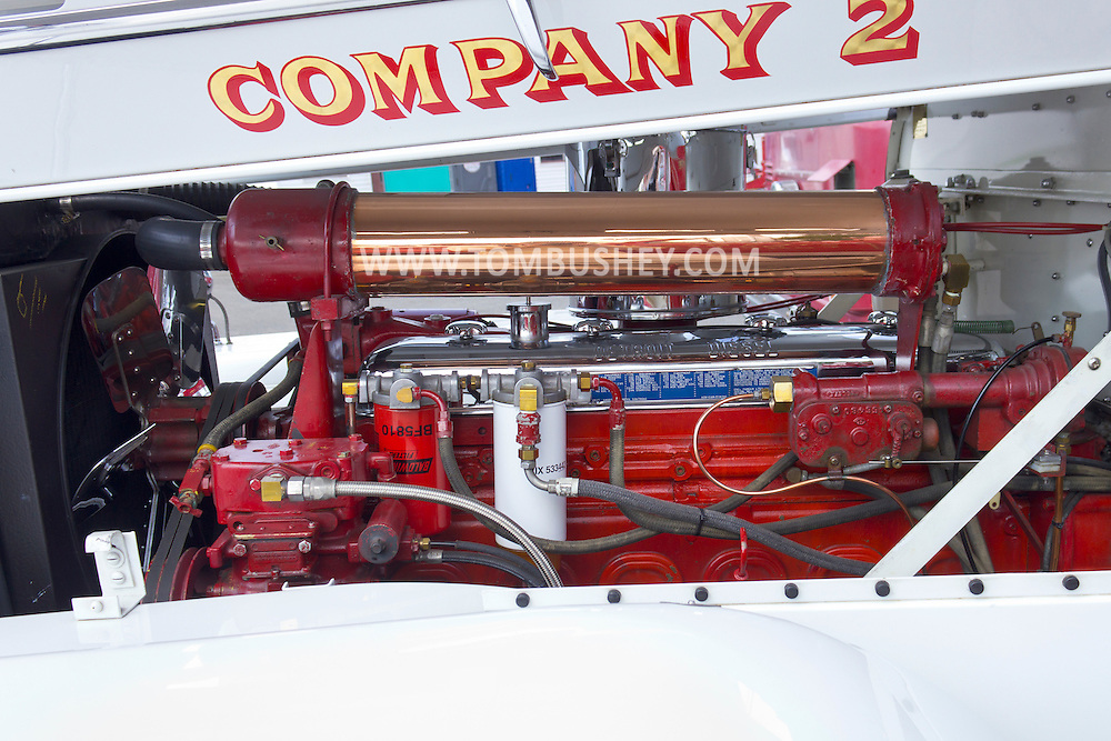 Circleville, New York - The engine of an antique fire truck were on display at the Catskill Fire Cats 36th Annual Muster on Aug. 4, 2012.