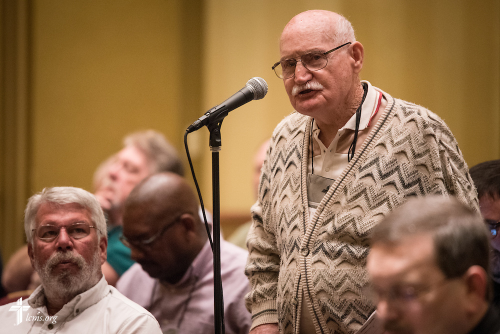 "A delegate at the open hearing of Floor Committee #13 ""Routes to Ministry"" speaks during the 66th Regular Convention of The Lutheran Church–Missouri Synod on Saturday, July 9, 2016, in Milwaukee. LCMS/Frank Kohn"