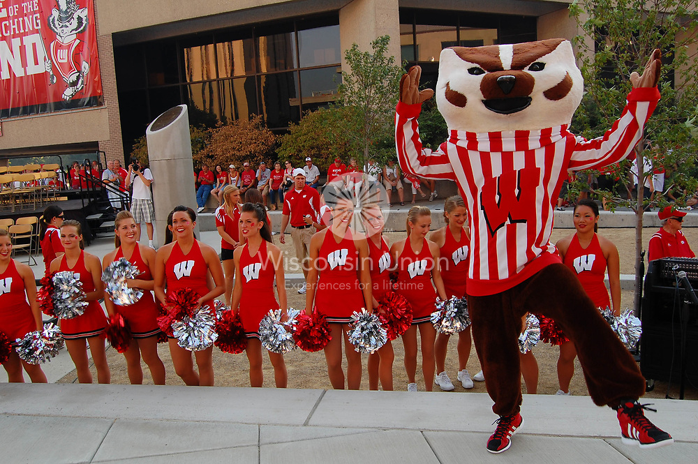 The UW Cheerleaders perform with Bucky Badger at Badger Bash at Union South in 2011.