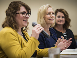 May 24, 2019 - West Des Moines, Iowa, U.S - US Senator KIRSTEN GILLIBRAND (D-NY), center, chairs a community forum in the West Des Moines Public Library. Gillibrand unveiled her ''Family Bill of Rights'' during a forum in West Des Moines. The New York Senator has made family health and rights a centerpiece of her campaign. She is touring Iowa this week to support her candidacy to be the Democratic nominee for the US Presidency. Iowa traditionally hosts the the first selection event of the presidential election cycle. The Iowa Caucuses will be on Feb. 3, 2020. (Credit Image: © Jack Kurtz/ZUMA Wire)
