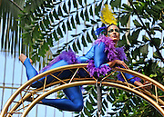 © under license to London News Pictures. LONDON, UK  10/05/2011. The Launch of Kew Gardens Summer Festival in West London, today (10/05/2010). Zahara O'Brien performs an acrobatic display, evoking tropical birds in the iconic Palm House. .Photo credit should read Stephen Simpson/LNP.