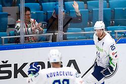 Robert Sabolic of Slovenia celebrates after scoring a goal during ice hockey match between Belarus and Slovenia at IIHF World Championship DIV. I Group A Kazakhstan 2019, on May 2, 2019 in Barys Arena, Nur-Sultan, Kazakhstan. Photo by Matic Klansek Velej / Sportida