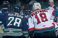 KELOWNA, CANADA - APRIL 30: Keegan Kolesar #28 of the Seattle Thunderbirds lines up against Carsen Twarynski #18 of the Kelowna Rockets on April 30, 2017 at Prospera Place in Kelowna, British Columbia, Canada.  (Photo by Marissa Baecker/Shoot the Breeze)  *** Local Caption ***