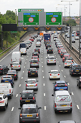 © Licensed to London News Pictures. 22/07/2017<br />  Anti-clockwise traffic at Junction 1b M25 Dartford,Kent.<br /> Drivers to face sun,wind and rain weather conditions as the great summer holiday weekend getaway continues today with millions of drivers taking to the UK's roads. <br /> Photo credit: Grant Falvey/LNP