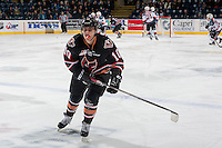KELOWNA, CANADA - FEBRUARY 1: Jakob Stukel #10 of the Calgary Hitmen skates to the bench against the Kelowna Rockets on February 1, 2017 at Prospera Place in Kelowna, British Columbia, Canada.  (Photo by Marissa Baecker/Shoot the Breeze)  *** Local Caption ***