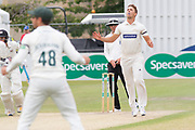 Will Davis bowling during the Specsavers County Champ Div 2 match between Gloucestershire County Cricket Club and Leicestershire County Cricket Club at the Cheltenham College Ground, Cheltenham, United Kingdom on 17 July 2019.