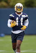 Jun 3, 2019; Costa Mesa, CA, USA; Los Angeles Chargers receiver Geremy Davis (11) carries the ball during organized team activities at the Hoag Performance Center.