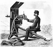First model of Hiram Maxim's machine gun. From 'Der Stein der Weisen', Leipzig,  c1895. Engraving