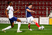 Lewis Morgan Scotland U21s (Celtic FC) gets beyond Aaron Wan-Bissaka England U21s (Crystal Palace) and delivers a cross  during the U21 UEFA EUROPEAN CHAMPIONSHIPS match Scotland vs England at Tynecastle Stadium, Edinburgh, Scotland, Tuesday 16 October 2018.