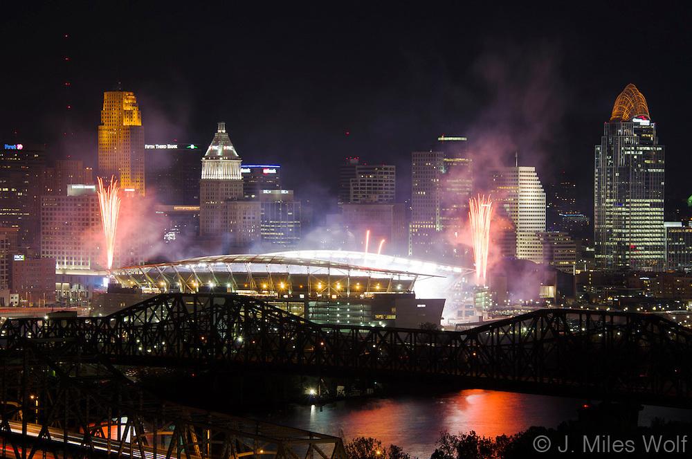 Cincinnati Skyline at night with Paul Brown Stadium and Fireworks