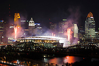 Cincinnati Skyline at night with Paul Brown Stadium and Fireworks