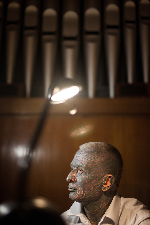Prof. Vladimír Franz rehearsing on the church organ in a church located in Prague Vrsovice. Franz is a prominent Czech composer and painter, stage music author and also a registered candidate in the 2013 Czech presidential election.