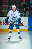 PENTICTON, CANADA - SEPTEMBER 8: Guillaume Brisebois #56 of Vancouver Canucks warms up against the Winnipeg Jets on September 8, 2017 at the South Okanagan Event Centre in Penticton, British Columbia, Canada.  (Photo by Marissa Baecker/Shoot the Breeze)  *** Local Caption ***