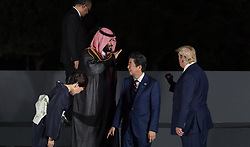 Wife of Shinzo Abe, Crown Prince Mohammed bin Salman (Saudi Arabia), Japan's Prime Minister Shinzo Abe and US President Donald Trump during family photo session on the first day of the G20 summit in Osaka, Japan on June 28, 2019. Photo by Jacques Witt/Pool/ABACAPRESS.COM