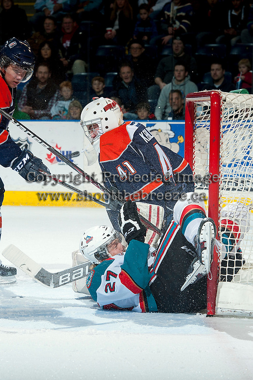 KELOWNA, CANADA -FEBRUARY 1: Ryan Olsen #27 of the Kelowna Rockets slides into the net of Cole Kehler G #41 of the Kamloops Blazers on February 1, 2014 at Prospera Place in Kelowna, British Columbia, Canada.   (Photo by Marissa Baecker/Getty Images)  *** Local Caption *** Ryan Olsen; Cole Kehler;