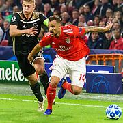NLD/Amsterdam/20181023 - Champions Leaguewedstrijd  Ajax - SL Benfica, nr. 4 Matthijs de Ligt en nr.14 Haris Seferovic