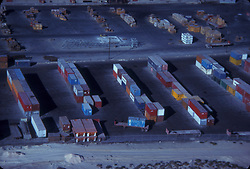 Aerial view of stacked shipping containers at the Port of Houston