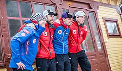 25.02.2015, Främby Udde Resort, Falun, SWE, FIS Weltmeisterschaften Ski Nordisch, Nordische Kombination, Pressekonferenz, im Bild v. l.: Bernhard Gruber (AUT), Christoph Bieler (AUT), Lukas Klapfer (AUT) und Sepp Schneider (AUT) // f.l.: Bernhard Gruber of Austria, Christoph Bieler of Austria, Lukas Klapfer of Austria and Sepp Schneider of Austria during the Austrias Nordic Combined Team Pressconference of the FIS Nordic Ski World Championships 2015 at the Fraemby Udde Resort, Falun, Sweden on 2015/02/25. EXPA Pictures © 2015, PhotoCredit: EXPA/ JFK