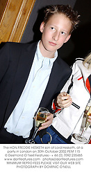 The HON.FREDDIE HESKETH son of Lord Hesketh, at a party in London on 30th October 2002.	PEM 115