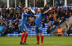 Jack Marriott of Peterborough United (right) celebrates scoring his goal with team-mate George Cooper - Mandatory by-line: Joe Dent/JMP - 28/04/2018 - FOOTBALL - ABAX Stadium - Peterborough, England - Peterborough United v Fleetwood Town - Sky Bet League One