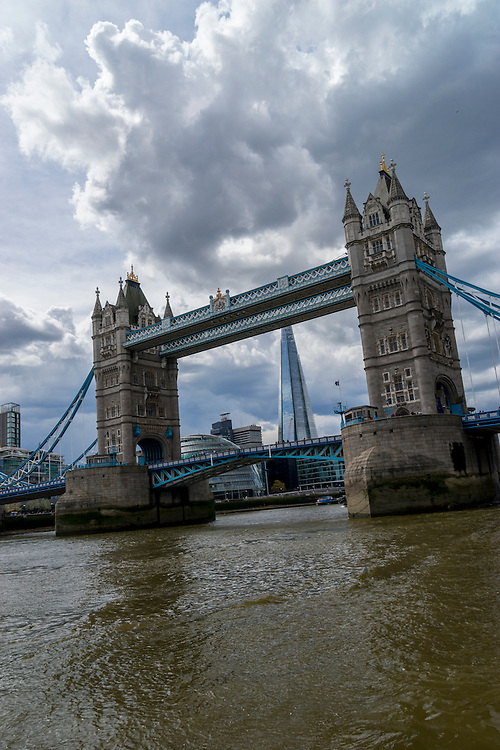 The Tower Bridge built from 1886 to 1894 is a combined bascule and suspension bridge in London, England.